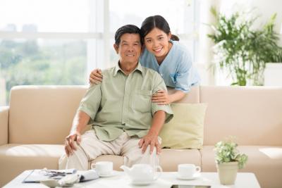 senior man with caregiver